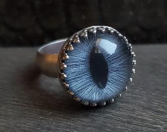 Blue Cat Eye Ring | Size 2 | Sterling Silver