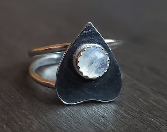 Moonstone Planchette Ring | Size 5.5 | Sterling Silver