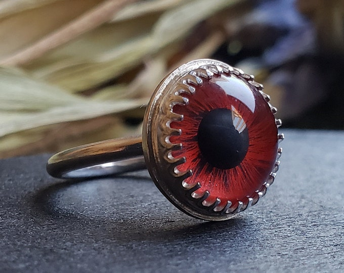 Red Glass Eye Ring Size 4.5 | Sterling Silver