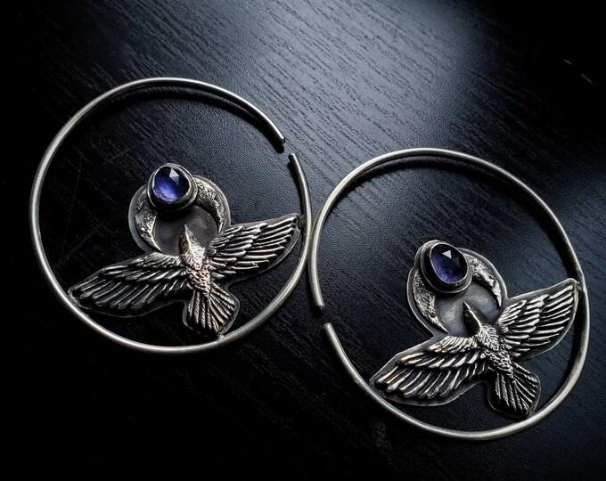 Iolite & Raven Ear Weights/Hangers