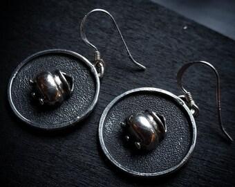 Cauldron Earrings   Sterling Silver