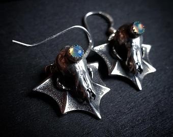 Ethiopian Opal & Cast Myotis Bat Skull Earrings   Sterling Silver