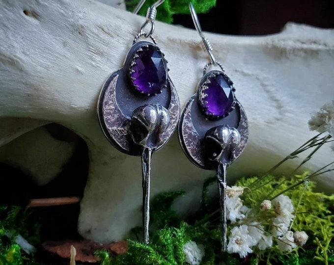 Amethyst Hummingbird & Crescent Moon Earrings