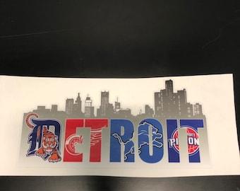 "Detroit D Skyline Decal Sticker 6/""x6/"""