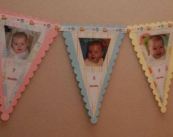 First Year Birthday Banner, 12 Month Photo Banner, First Birthday Decorations, Handmade Banner