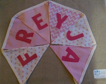 PINK THEME BUNTING - fabric bunting personalised with your name (price per letter)