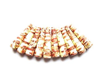 lot 10 pearls paper cone, ethnic pattern, length 20mm