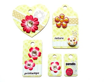 set of 5 tags embellishments scrapbooking done hand Z45