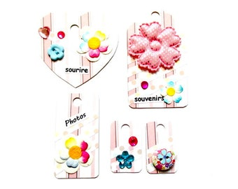 set of 5 tags embellishments scrapbooking done hand Z46