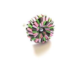 origami paper flower ring multicolor silverplate R53