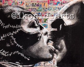 11x17 Batman/Catwoman print of an IKONIC Arts hand painted original