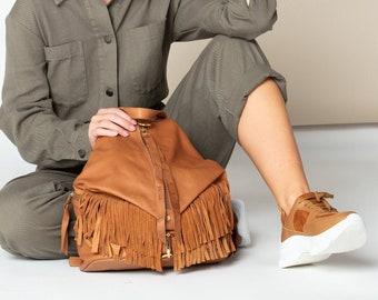 Fringe leather purse Small leather backpack purse Women boho backpack