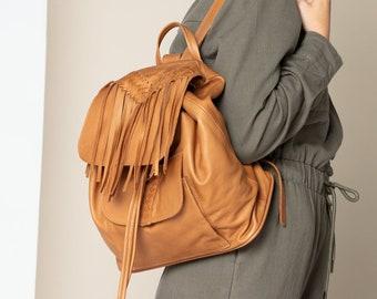 Boho leather backpack women Tan hipster bag Bohemian leather rucksack