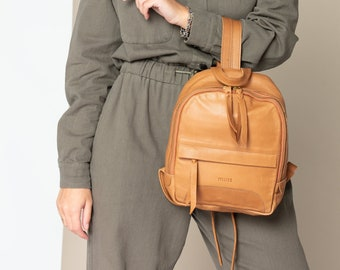 Leather backpack woman High quality soft leather Brown backpack purse