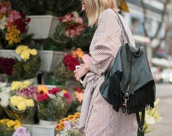 Fringe leather backpack purse Woman Black leather backpack Boho fringe rucksack