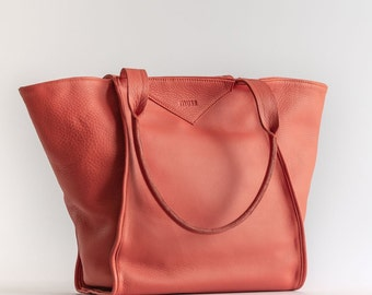 0a962ff12b06 Leather tote bag purse women Soft distressed coral leather bag tote