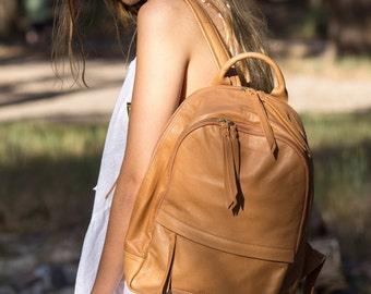 Laptop backpack Leather rucksack Tan brown leather backpack Woman leather laptop bag