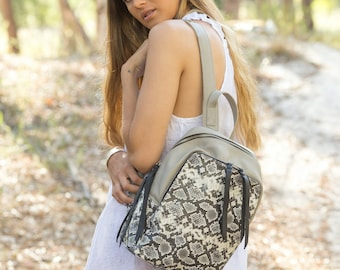 Leather backpack women Python print leather purse  Black and white leather backpack