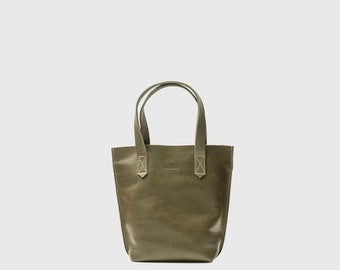 Mini leather tote Small leather bag woman Olive green leather