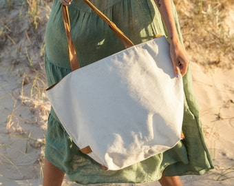 Leather and canvas tote bag Natural cotton canvas shoulder bag Handmade leather and canvas zipper tote