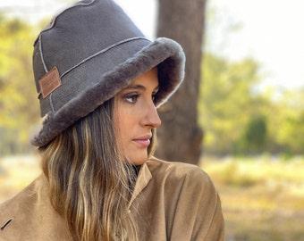 Winter bucket hat woman Shearling reversible bucket Christmas gift