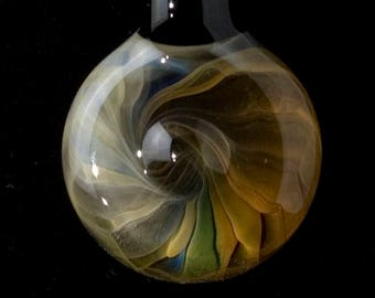 Silver and Gold Heavy Fume and Oynx black Pendant