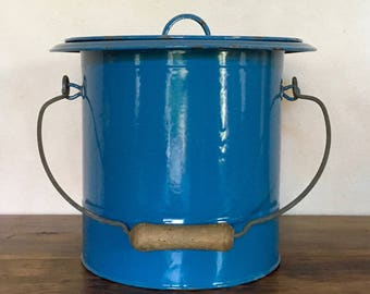 garbage pail blue metal bathroom fresh french vintage blue bucket chamber pot enamelled