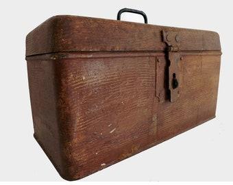 Old metal - Antique metal storage box storage crate