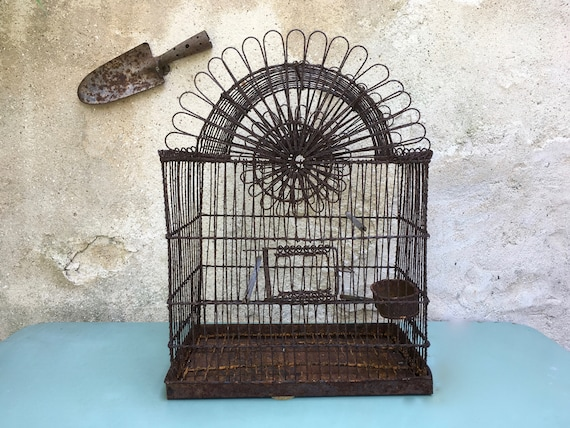 Vintage woven wire birdcage bird cage in braided French wire