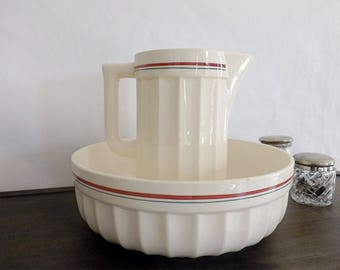 Pitcher and Bowl Sarreguemines - Antique pitcher brand Sarreguemines brand