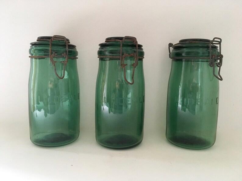 f535b57d20 Bocal L'Idéale lot de 3 bocaux verre ancien French vintage   Etsy