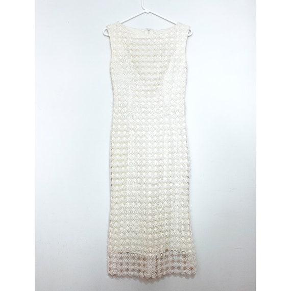 Vintage Cream Daisy Lace Sleeveless Shift Dress, W