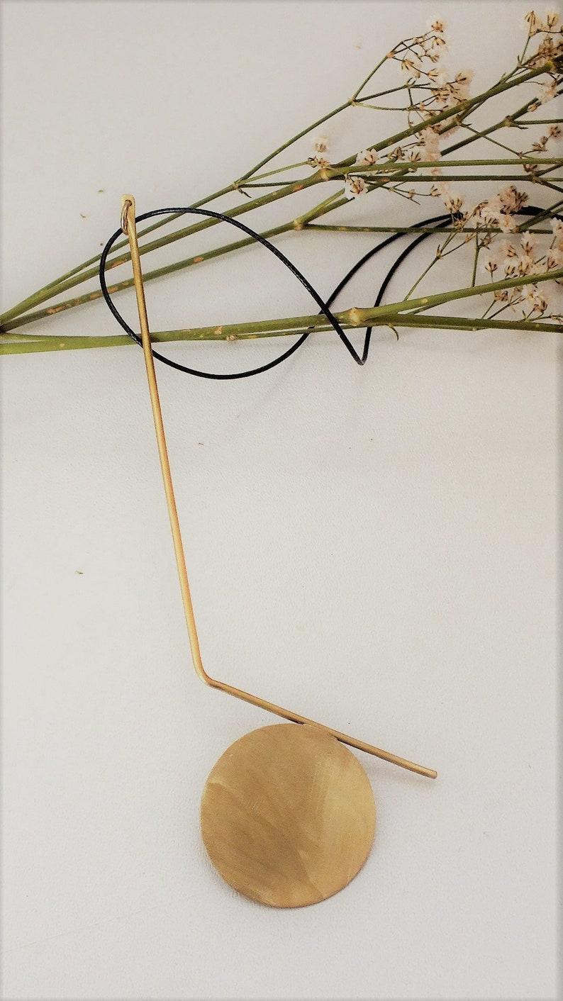 Bronze pendant Tano Handmade pendant Geometric pendant Minimal pendant Circle