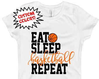 6c9214a776a Girls Basketball Shirt - Basketball Baby Outfit Bodysuit - Eat Sleep  Basketball Repeat Shirt Bodysuit - Custom School Colors - For Girls