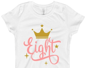 Pink and Gold Birthday Shirt - 8th Birthday Shirt 8 - Eight Birthday Shirt - Pink and Gold Birthday Party - Crown Birthday Shirt for Girls