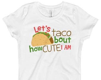 Funny Taco Shirt - Taco Baby Girls Outfit - Lets Taco Bout How Cute I Am Shirt - Kids Taco Shirt  - Taco Baby Clothes -Taco Tuesday Shirt