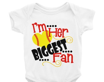 f57902b29 Baby Softball Outfit / Softball Baby Outfit / Softball Outfit Baby / I'm  Her Biggest Fan Baby Outfit / Softball Sister / Softball Brother