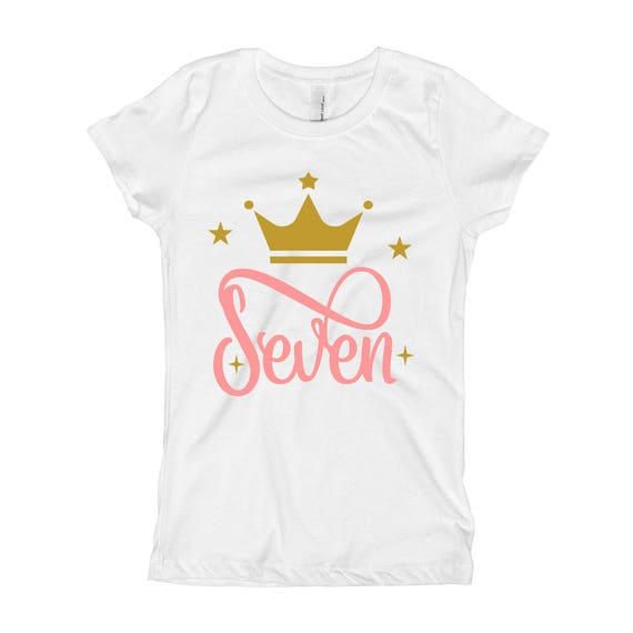 Pink And Gold Birthday Shirt 7th 7 Seventh