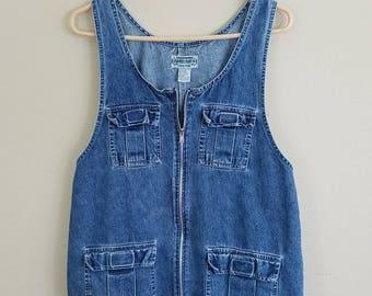 90s Denim Dress, Vintage Denim Mini Dress by Amilano Collection - size medium #347