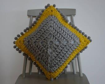 Crochet Cushion Cover, Pom Pom Cushion, Scatter Cushion, Mustard Cushion Cover, Reversible Cushion Cover
