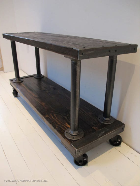 industrial media furniture black image media console tv stand industrial consolemedia etsy