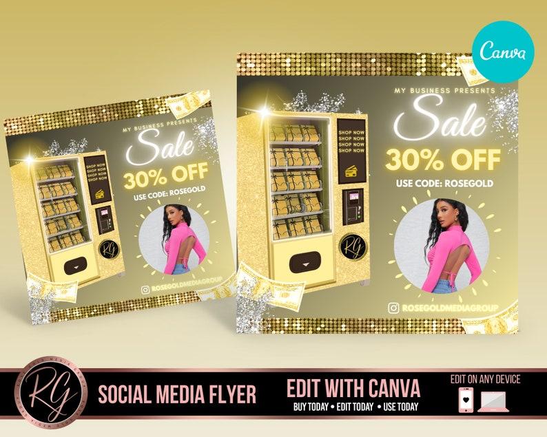 SALE Flyer Canva Template,Vending Machine Gold DIY Template Beauty Template Social Media Flyer