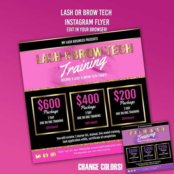 lash tech flyer lashes flyer brow microblading flyer etsy