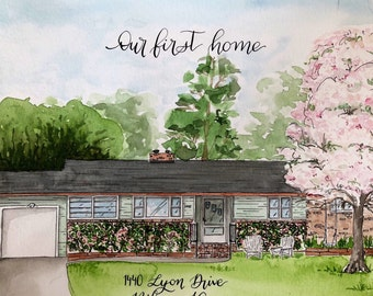Custom House Portrait | house painting in watercolor  | home portrait | Housewarming gift | custom calligraphy accents |  house painting