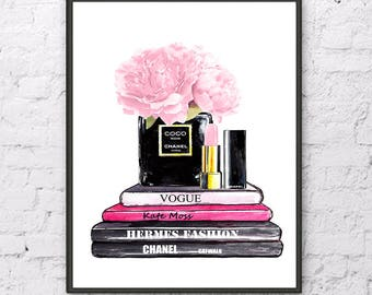 12aff71e43f5 Chanel art print Chanel noir perfume poster Fashion watercolor painting  Pink Peony print Chanel Lipstick painting Fashion art print