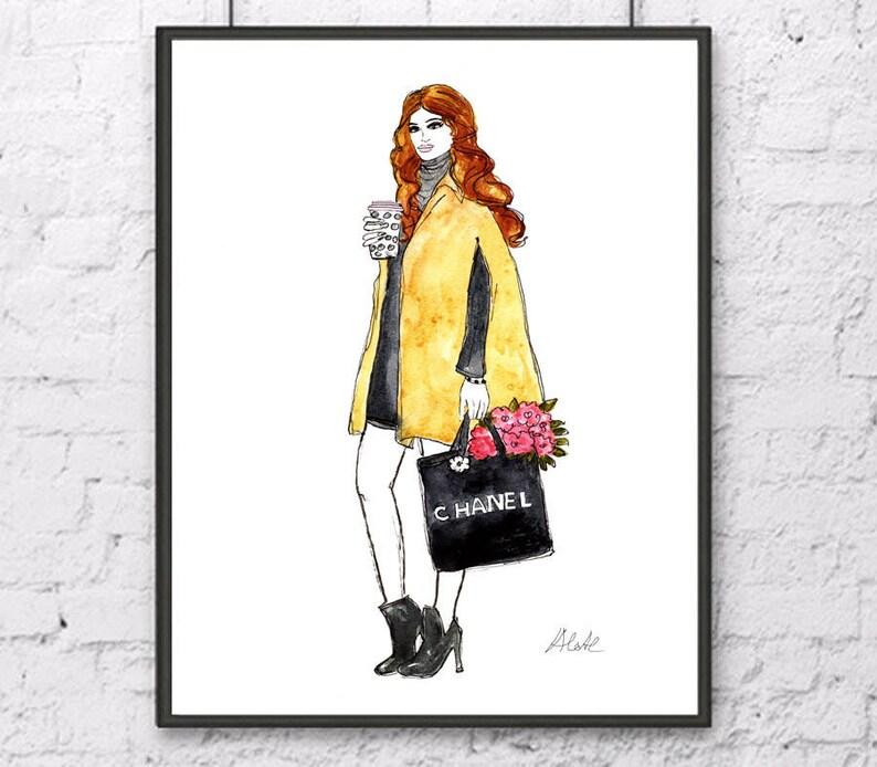 b6e29119a8f130 Chanel fashion girl Chanel art print Chanel bag Chanel home   Etsy