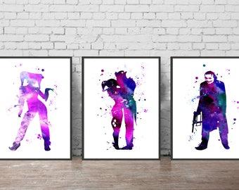 joker and harley quinn art print joker and harley quinn watercolor print jocker poster harley quinn wall decor harley quinn fanfiction