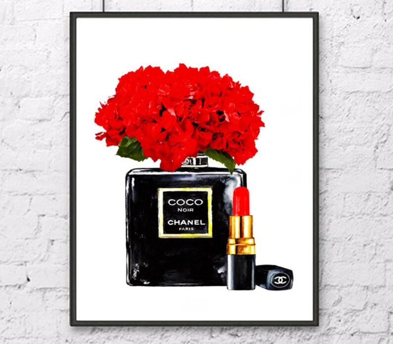 7883f92ab38d33 Red Hydrangea watercolor print Chanel art print Chanel noir | Etsy
