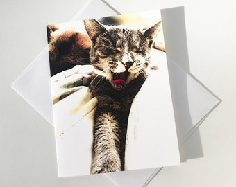 C15 - Single blank card with envelope • Cute Yawning Cat • size 5.25 x 4 in • Free Shipping