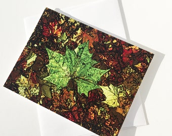 C1 - Fall Leaves • Single blank card with envelope • size 5.25 x 4 in • Free Shipping